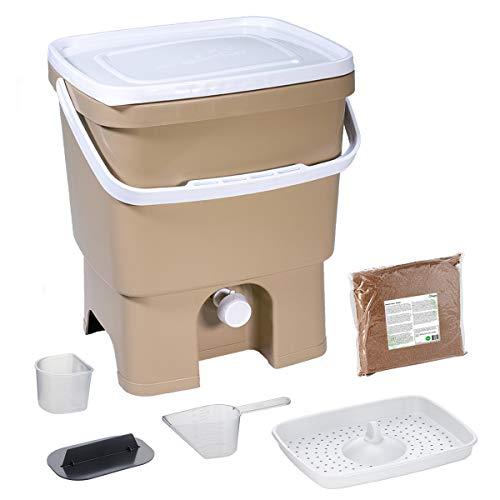 Skaza Bokashi Organko (16 L) Compostiera per Giardino e Cucina in plastica Riciclata | Starter Set con Miscela di fermentazione Em 1 kg (Cappuccino-Bianco)