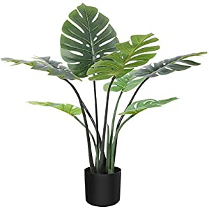 Silk Flower Arrangements CROSOFMI Artificial Monstera Deliciosa Plant 31 Inch Fake Tropical Palm Tree, Perfect Faux Swiss Cheese Plants in Pot for Indoor Outdoor House Home Office Garden Modern Decoration Housewarming Gift