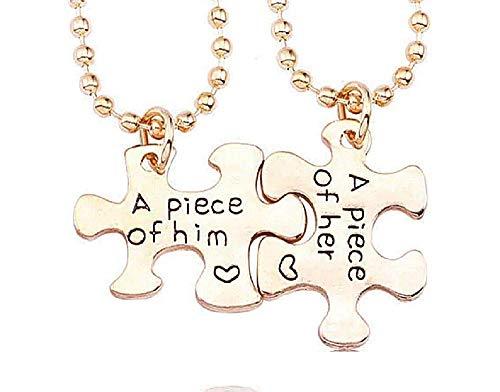 Twee kettingen - een stuk van hem - hanger - puzzel - in elkaar grijpend - een stuk van haar - een stuk van hem - man - een stuk van haar - vrouw - unisex - valentijnsdag feestjes - sieraden