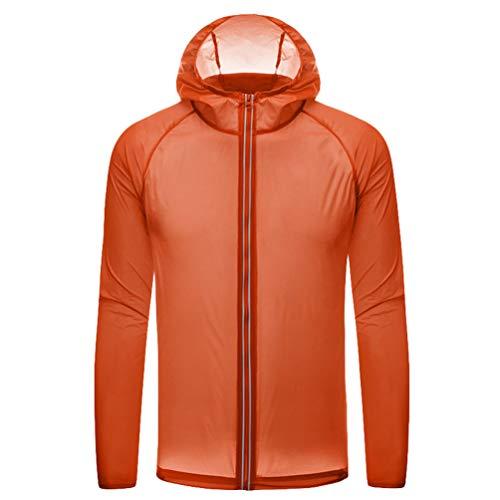 Heheja Frühling Sommer Dünn Sonnenschutzkleidung Hautmantel Anti UV-Schutzkleidung Herren Damen Laufjacken Schnell Trocknend Mantel Orange M