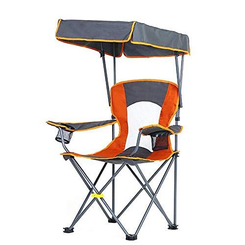 Silla de Camping Plegable, Ultraligera y Resistente a la Lluvia con toldo sillón portátil de Pesca,Tumbonas al Aire Libre Silla de Playa para Exteriores/Viajes/Barbacoa/jardín