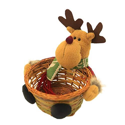 Titular Elk Diseño Caramelo de la Navidad la Cesta de Mimbre de bambú Tejido de la Cesta contenedores de Almacenamiento de Navidad Cesta de Almacenamiento para el hogar Talla S para el hogar