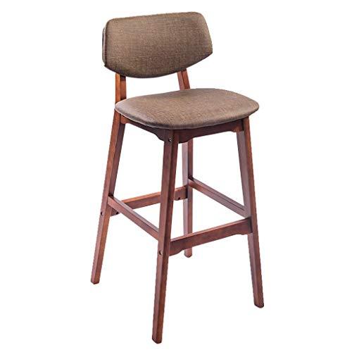 DJ Houten bar kinderstoel voor ontbijt, keuken teller, iep stoel, spons stoel, waterdichte rug - Cafetaria/balkon/restaurant (grootte: 49 * 49 * 99 cm) brown frame BRON