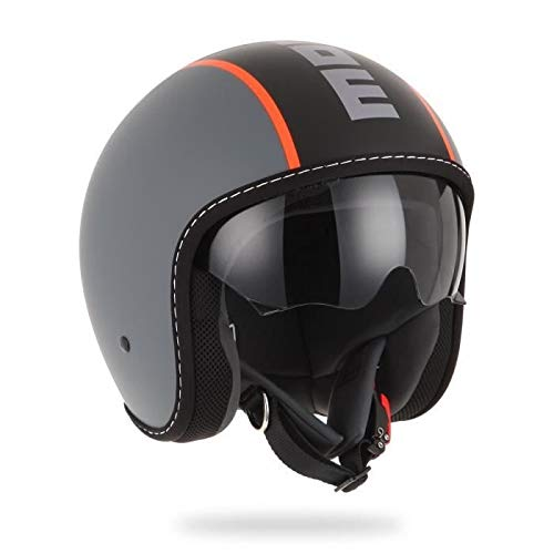 MOMO Design 007008-19 Casco Moto, Grigio Opaco/Rosso, S