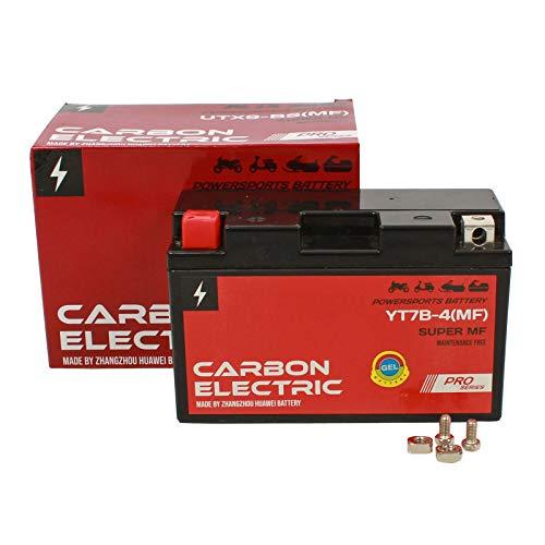 Carbon Electric Gel Batterie YT7B-4 12V 6.5Ah Rollerbatterie Vorgeladen Versiegelt Wartungsfrei Akkumulator Motorrad Motorradbatterie