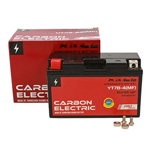 Gel Batterie YT7B-4 12V 6.5Ah Carbon Electric Rollerbatterie Vorgeladen Versiegelt Wartungsfrei Akkumulator Motorrad Motorradbatterie