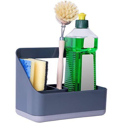 cookenia - Spülbecken Organizer (Sink Caddy) - als Schwammhalter, Spülorganizer, Spültuchhalter, der Ordnungshelfer in Ihrer Küche - grau