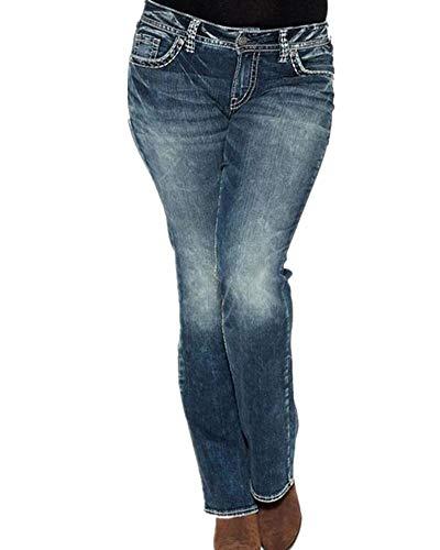 Kasen Vaqueros Mujer Flacos De Cintura Alta Leggings Elásticos Skinny Slim Pantalones Azul Marino L