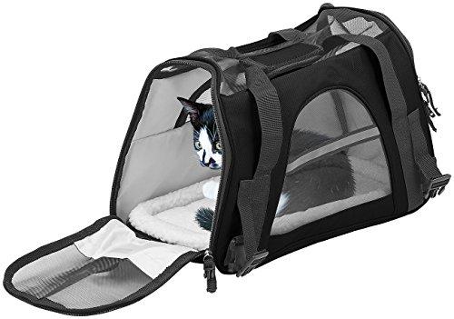 Sweetypet Transporttasche Katze: Hand- & Auto-Transporttasche für Kleintiere bis 3 kg, Größe S, schwarz (Katzentasche)