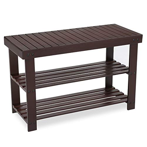 SONGMICS 3-Tier Bamboo Shoe Rack Bench, Shoe Organizer, Storage Shelf, Holds Up...