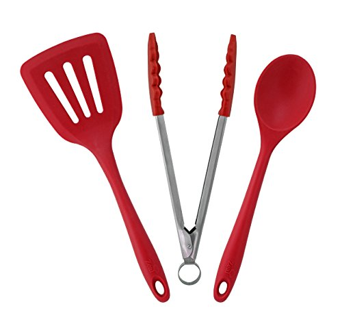 ZEAL 3 Piece Kitchen Utensil Set - Cooks Spoon, Turner and Tong - European Grade Pure Silicone, Heat Resistant to 482F (Red)