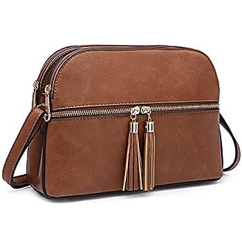 Dasein Women Tassel Zipper Pocket Crossbody Bag Shoulder Purse Fashion Travel Bag with Multi Pockets 1-Brown