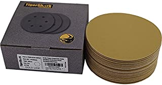TigerShark 6 Inch Sanding Discs No Hole Grit 220 50pcs Pack Special Anti Clog Coating Paper Gold Line Hook and Loop Dual Action Air Random Orbital Sander Paper Fine