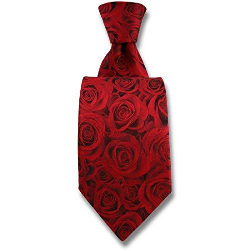 Robert Charles. Cravate. Fleur de rose, Soie. Rouge, Fantaisie. Fabriqué en Italie.