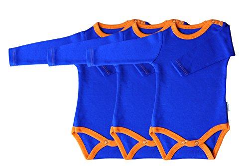 Princess Taufkleid Body langärmlig 3er Pack blau/orange Grösse 56 100% Baumwolle Druckknöpfe
