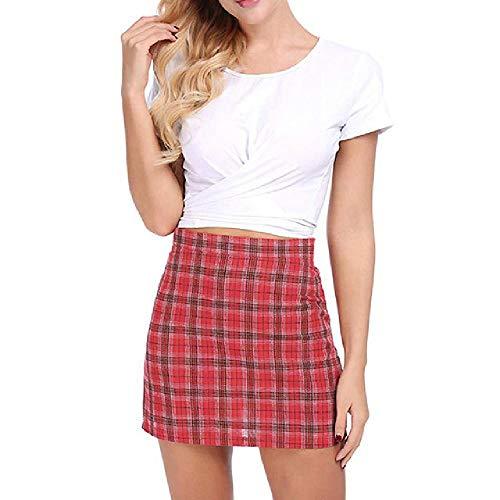 N\P Mujer De Talle Alto, Vintage Cuadros De Algodón Mini Faldas De La Escuela De La Niña De La Cremallera Negro Check Print Faldas Cortas