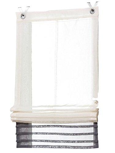 Gardinenbox.eu Raffrollo, Farbe Creme/Grau, 1 Stück, Heine Home, Größe: ca. HxB: 140x120 cm, Einfache Montage mit Hakenaufhängung und Ösen, Lieferung Inklusive Zubehör