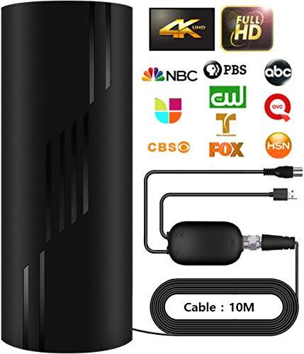 Aktualisierung TV Antenne,Drinnen Draußen Abnehmbar DVB-T2/DVB-T Antenne,320KM Reichweite Digitale TV Antenne Smart Signalverstärker,für 1080P 4K Kostenlose TV-Kanäle,mit 10M Langem Koaxialkabel