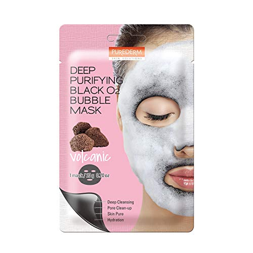 Purederm Deep Purifying Black O2 Bubble Mask — Volcanic Facial Sheets With Detoxifying And Moisturizing Action, Skin Brightening Wash-off Face Mask That Removes Dead Skin Cells And Toxins (Volcanic) …
