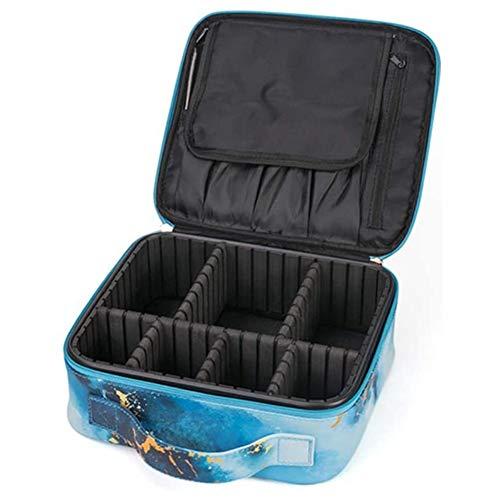 HLPIGF Estuche de Viaje para CosméTicos con ParticióN Ajustable Bolsa de Almacenamiento de CosméTicos Estuche para CosméTicos PortáTil con Portaescobillas, Azul
