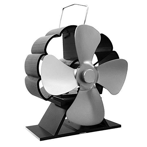 CIVIKY Ventiladores de estufa 4 aspas, ecológico, silencioso, accionado por calor, ventilador de funcionamiento, Mini ventilador de chimenea para estufas de leña/pellets-Gris