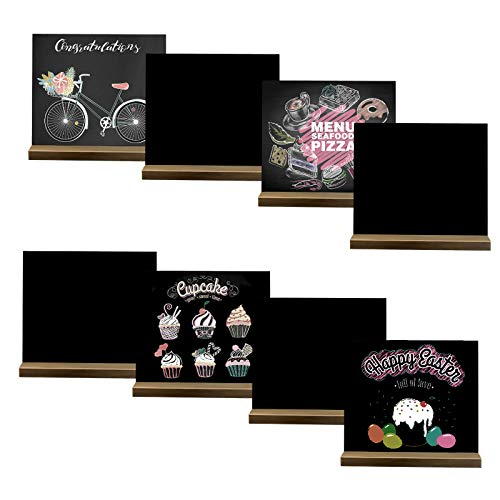8 Pack Mini Chalkboard Signs, 5 X 6 Inch Vintage Wooden Tabletop Chalkboard Sign with Base Stand, Small Message Chalkboard Sign for Party, Restaurant, Wedding Signs, Bar Countertop and Home