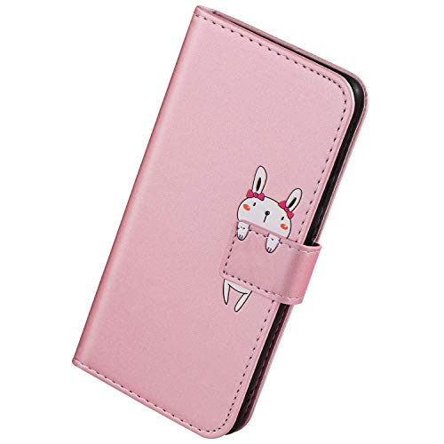 Herbests Kompatibel mit iPhone 7 Plus/iPhone 8 Plus Handyhülle Leder Hülle für Jungs Männer Cute Cartoon 3D Tier Muster Leder Schutzhülle Flip Case Brieftasche Hülle Klapphülle,Hase Rose Gold