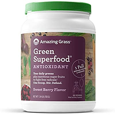Amazing Grass Green Superfood Antioxidant: Organic Plant Based Antioxidant and Wheat Grass Powder for full body recovery, Sweet Berry Flavor, 100 Servings, 24.7 Ounce (1 Count)