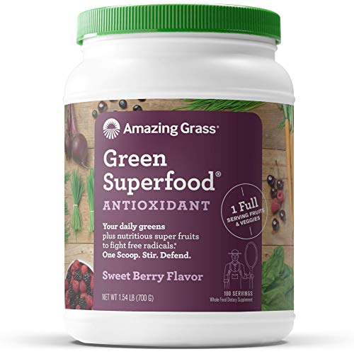 Amazing Grass Green Superfood Antioxidant: Super Greens Powder with Spirulina, Elderberry & Probiotics, Sweet Berry, 100 Servings
