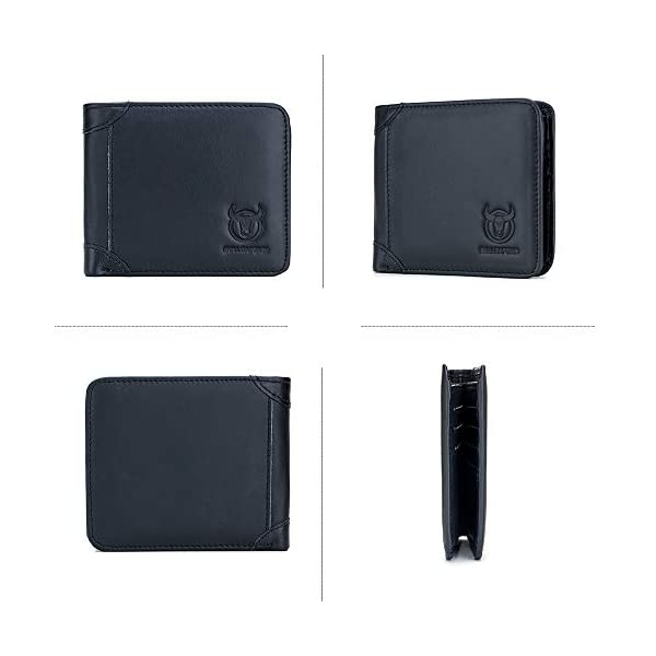 BULLCAPTAIN Slim Bi-fold RFID Blocking Leather Wallet for Men with 10 Credit Card Pockets and Removable Id Window QB031H 2