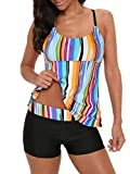 Century Star Tankini Swimsuits for Women Retro Bathing Suits Two Pieces Modest Swimming Wear Sports Tank Tops with Boyshorts Rainbow Stripe 14-16
