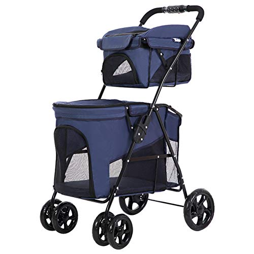 Pet Stroller Double Decker, Luxury 4 Wheel Foldable Jogging Pet Travel Carrier Portable Spacious Removable Pet Rover-Blue