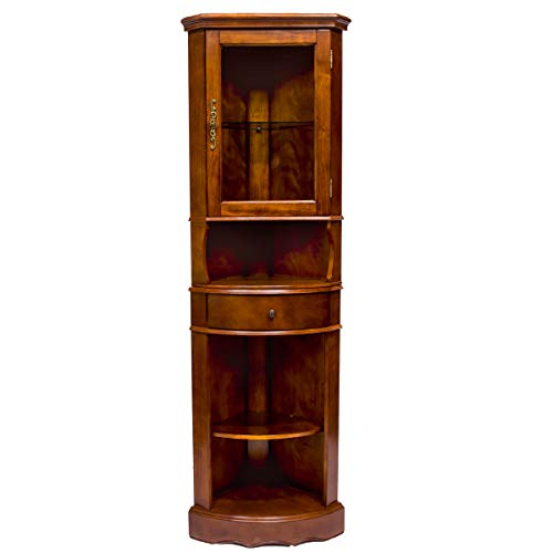 All Things Cedar LY06 Corner Curio Cabinet, Cherry