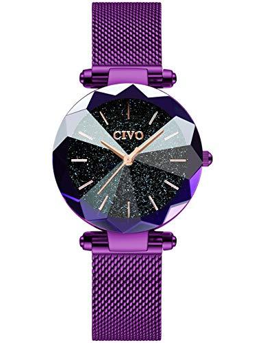 CIVO Damen Uhren Wasserdicht Silm Minimalistisch mit Edelstahl Mesh Armband Mode Kleid Elegant Beiläufig Quarzuhr für Damen,Violett/Blau
