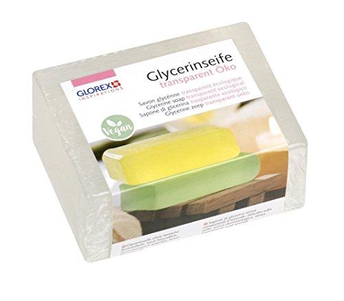 GLOREX 6 1600 121 - Glycerinseife Öko, transparente Seife auf hautneutraler Basis, dermatologisch getestet, 100 % Vegan, 500 g Block als Grundlage zum Seifengießen