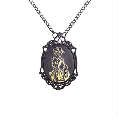VAWAA Mode Steampunk Halskette Metall Link Kette Schwarz Einstellung Antike Bronze Lady Skelett Bilderrahmen Anhänger, 1 Stück
