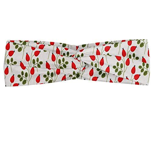 ABAKUHAUS Bloemen Hoofdband, Rozenbottel takken Bloemen en planten, Elastische en Zachte Bandana voor Dames, voor Sport en Dagelijks Gebruik, Vermilion Fern Green