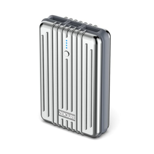 Zendure A3 Power Bank with 10000mAh (Compact and Light, 2-Port 2.1 A Output Charger with Quick Charging Function for iPhone, Tablet, Samsung and more, USB, Micro-USB, Hand Luggage Suitable), Silver