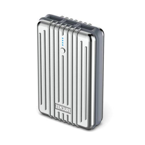Zendure A3 Power Bank con 10000mAh (Leggera e compatta, 2-Port 2.1 A Output Charger con Funzione Quick Charging per iPhone, Tablet, Samsung e Altri, USB, Micro-USB, per Bagagli a Mano), Argento