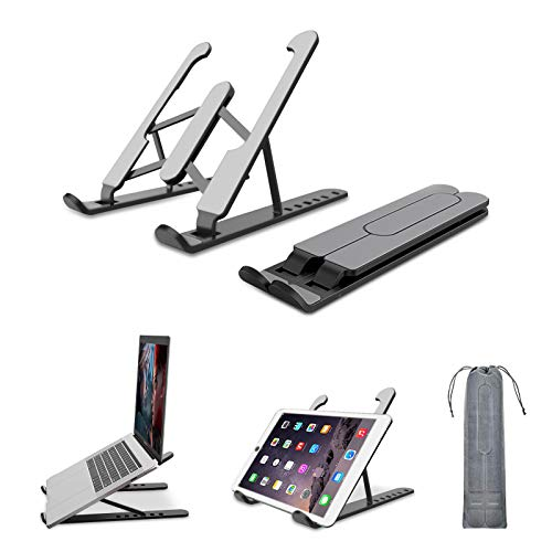 Laptop Stand, Foldable Portable Desktop Laptop Holder, Computer Stand ABS+silicone+built-in metal 6-Levels Angles Adjustable Height Compatible with Ipad, Dell, HP, Lenovo All Laptops & Tablets (Black)