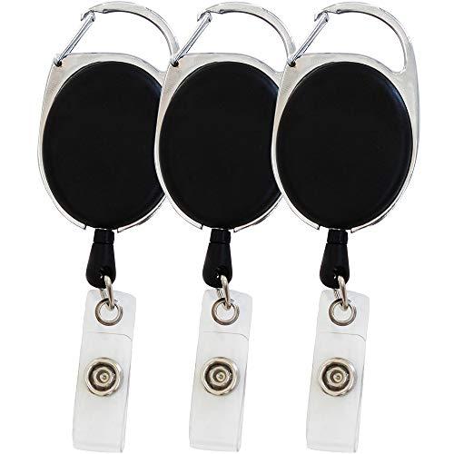 Set de 3 tarjeteros con mosquetón retráctil negro retráctil, con clip para el cinturón, y también con yoyó y cordón resistente de 62cm de largo (3)