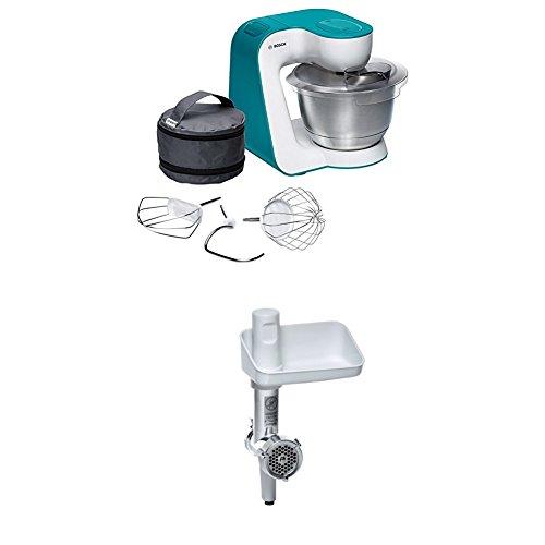 Bosch MUM54D00 Küchenmaschine StartLine (900 W, 3,9 L Edelstahl-Rührschüssel, einfaches Handling /Verstaulösung) dynamic blau + MUZ5FW1 Fleischwolf weiß/aludruckguss