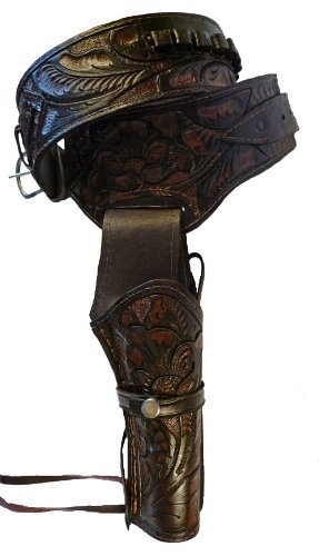 Straightline Western Cowboy Gun Belt Holster Rig 44/45 Caliber - I Will e-Mail You for Sizing Real Leather Holster - Great Gift