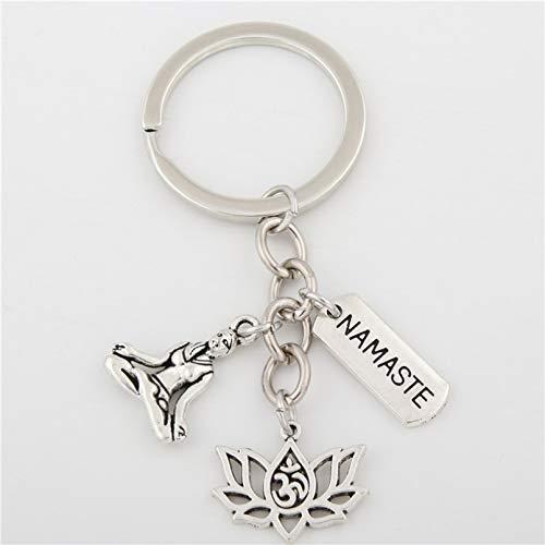 MENGYUE Keychain;1Pc Silver Color I Love Yoga Keychain Hamsa Hand Charms Ohm Symbol Keyring Lotus Jewelry Om Handbag Jewelry
