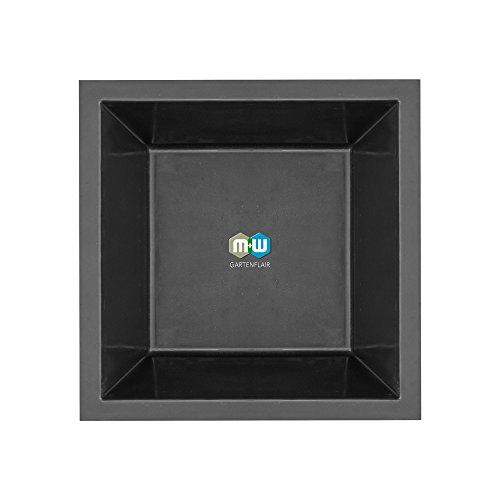M+W Gartenflair GFK Teichbecken quadratisch | 1050 Liter | 170x170x52 cm (Schwarz)