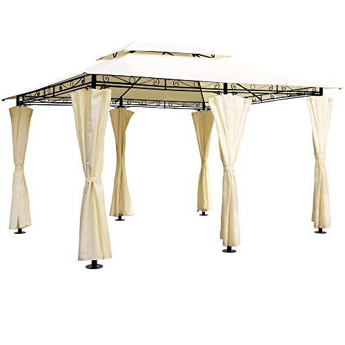 Deuba Luxus Pavillon Topas 3x4m Seitenwände Eckig Festzelt Partyzelt Gartenlaube Gartenzelt Gartenpavillon Beige