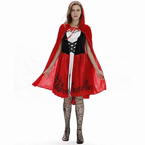 MU Señoras Europeas Y Americanas Capa Sexy Caperucita Roja Disfraz de Halloween Cosplay Traje Atractivo Uniforme de Juego,Color de la fot,M