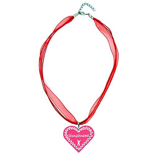 benobler Trachtenschmuck Trachtenkette Organzaband rot mit Filz Herz Damen Dirndlkette Organzakette Oktoberfest Wunschaufdruck (Herz - pink)