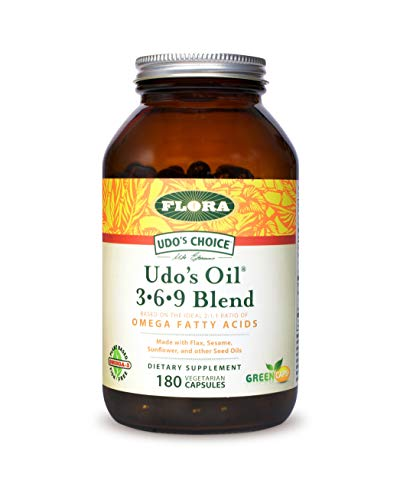 FLORA - Udo's Choice, Omega 369 Oil Blend, Vegetarian Capsules, 180 Count