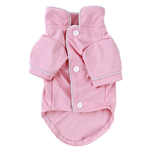 L_shop Hundepyjamas Haustier Nachtwäsche Shirt Atmungsaktiv Weiches Haustier Kostüm Welpen Katze Kleidung Outfits, Rosa, 30cm